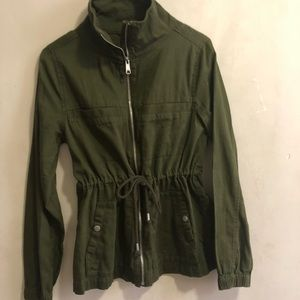 Olive green military jacket with cinched waist
